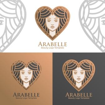 Modèle de logo vectoriel belle femme amour