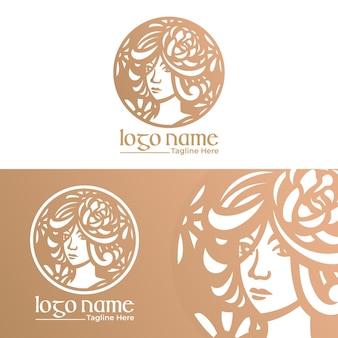 Modèle de logo vectoriel belle femme