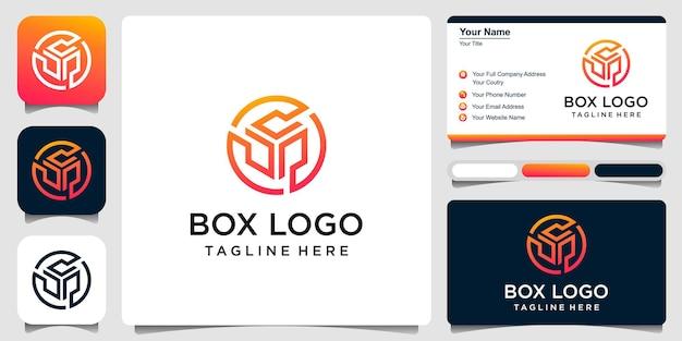 Modèle de logo vectoriel boîte de rangement logo concept