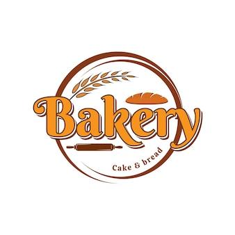 Modèle de logo vectoriel boulangerie gâteau et pain