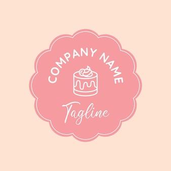 Modèle de logo vectoriel dessert simple et propre rose avec emblème de fleur de cercle sur fond blush