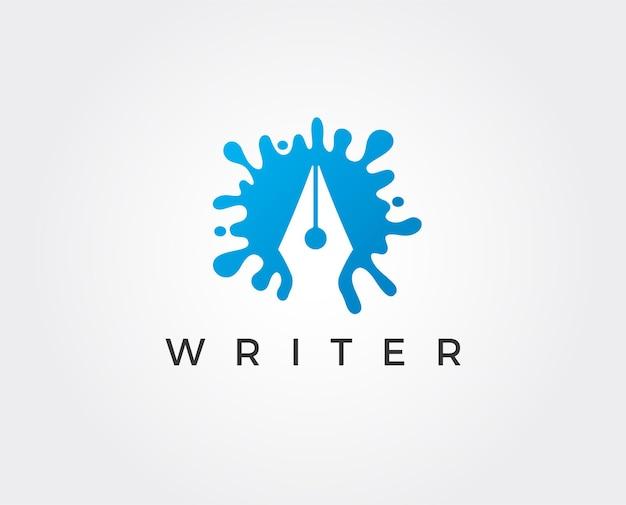Modèle de logo vectoriel écrivain intelligent