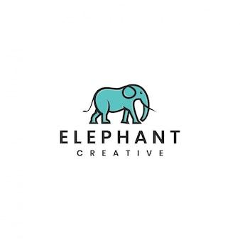Modèle de logo vectoriel éléphant minimaliste