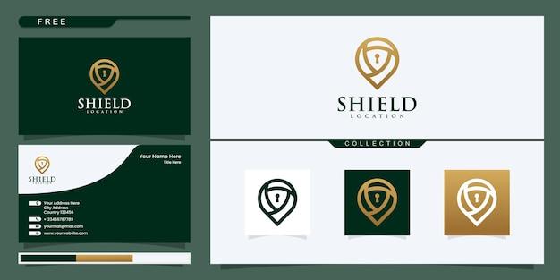 Modèle de logo vectoriel d'emplacement de bouclier. création de logo et carte de visite