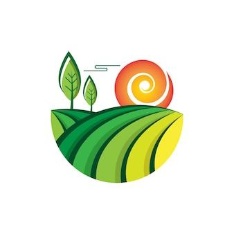 Modèle de logo vectoriel ferme jardin 02