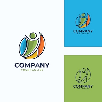 Modèle de logo vectoriel humain agréable