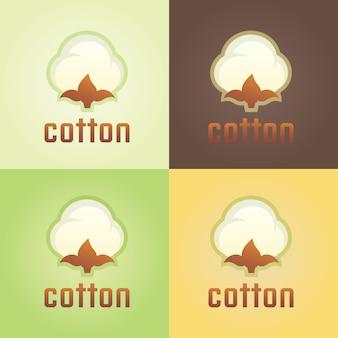 Modèle de logo vectoriel isolé coton, logo floral abstrait de vêtements en coton et laine