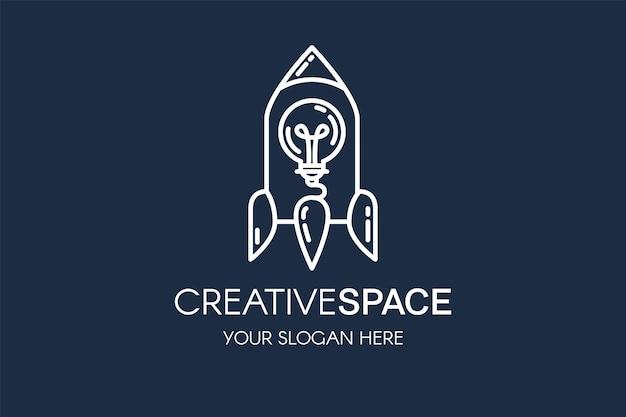 Modèle de logo vectoriel linéaire fusée et ampoule. logotype de démarrage avec typographie de l'espace créatif