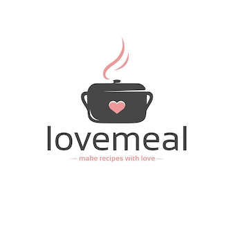 Modèle de logo vectoriel love meal