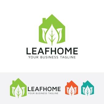 Modèle de logo vectoriel maison feuille