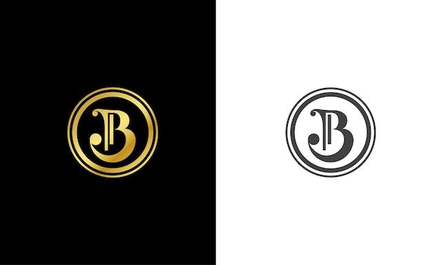 Modèle de logo vectoriel monogramme lettre initiale b dans le style de luxe or