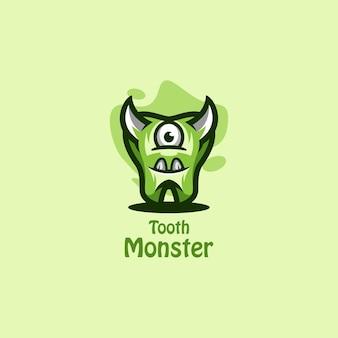 Modèle de logo vectoriel monstre dent