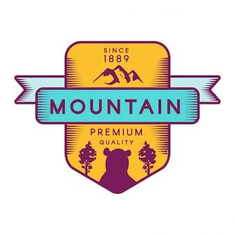 Modèle de logo vectoriel de montagne
