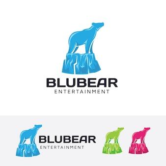 Modèle de logo vectoriel ours bleu