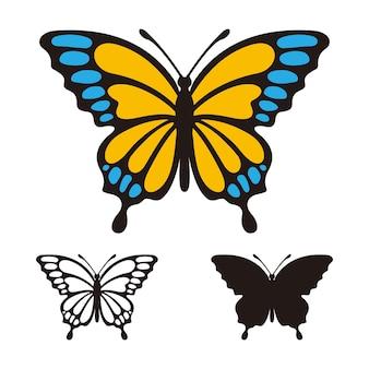 Modèle de logo vectoriel papillon