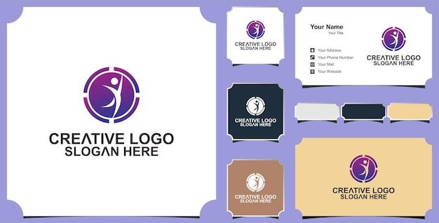 Modèle de logo vectoriel santé caractère humain et carte de visite