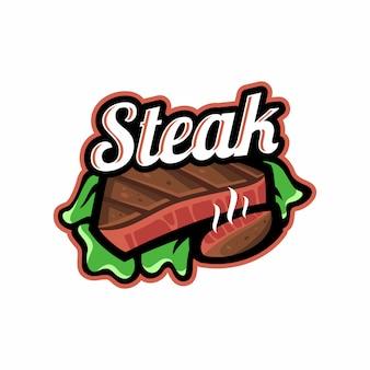 Modèle de logo vectoriel steak