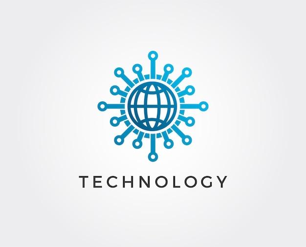 Modèle de logo vectoriel de technologie mondiale