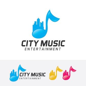 Modèle de logo vectoriel ville musique