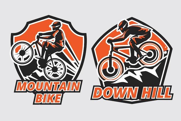 Modèle de logo de vélo de montagne
