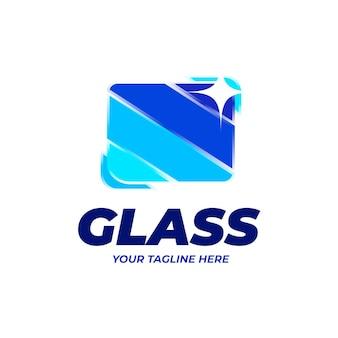 Modèle de logo en verre design plat