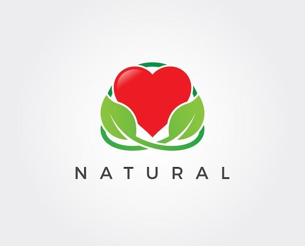 Modèle de logo vert amour minimal