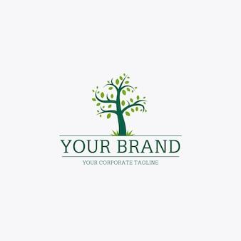 Modèle de logo de vie d'arbre avec slogan