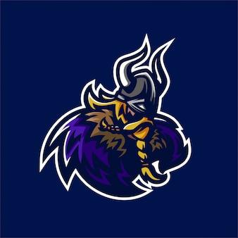 Modèle de logo de viking chevalier esport