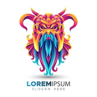 Modèle de logo viking coloré