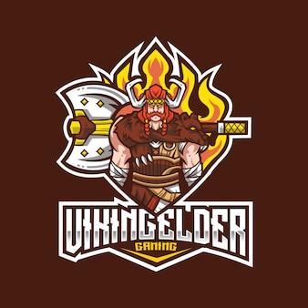 Modèle de logo viking elder esport