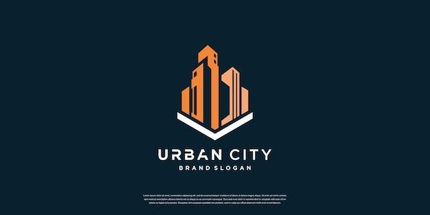 Modèle de logo de ville urbaine avec concept créatif vecteur premium