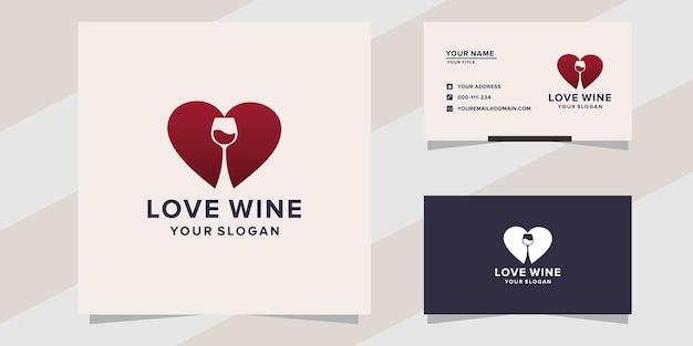 Modèle de logo de vin d'amour