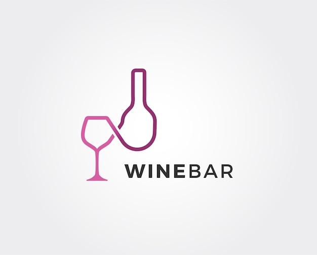 Modèle de logo de vin minimal