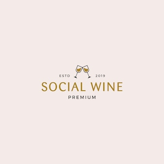 Modèle de logo de vin social