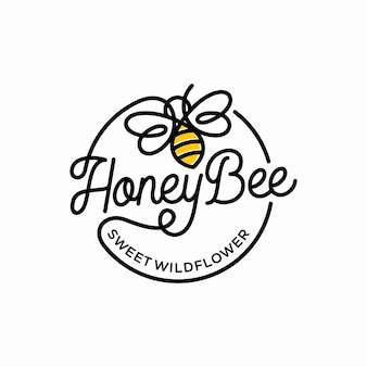 Modèle de logo vintage abeille à miel