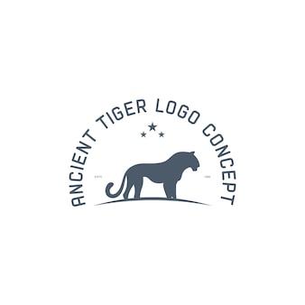 Modèle de logo vintage animal tigre antique