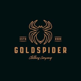 Modèle de logo vintage araignée dorée