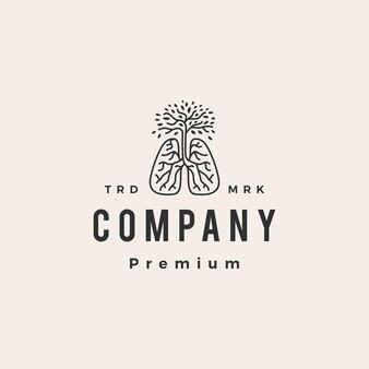 Modèle de logo vintage arbre poumon racine souffle hipster