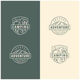 Modèle de logo vintage aventure camp en plein air montagne, insigne