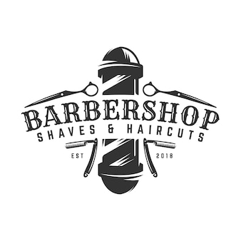 Modèle de logo vintage barbershop