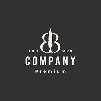 Modèle de logo vintage bb lettre marque stylo plume encre hipster
