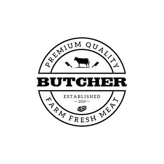 Modèle de logo vintage de boucherie ou de boucherie.