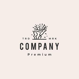 Modèle de logo vintage cerf arbre hipster