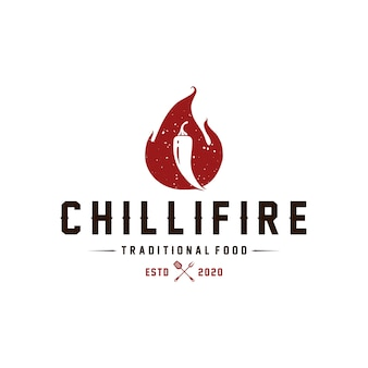 Modèle de logo vintage chilli fire