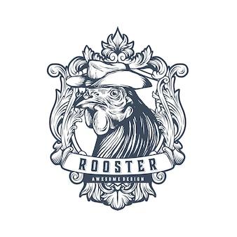 Modèle de logo vintage coq