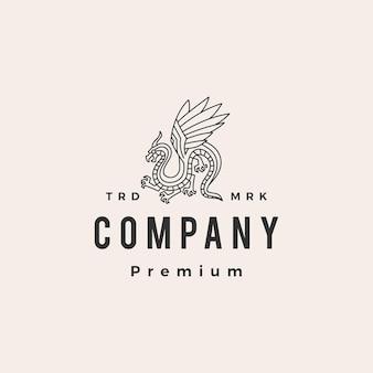 Modèle de logo vintage dragon monoline hipster