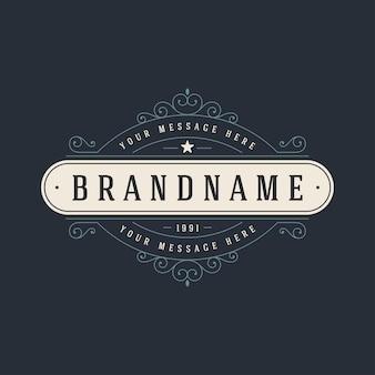 Modèle de logo vintage élégant s'épanouit illustration d'ornements