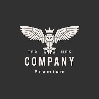 Modèle de logo vintage hibou roi hipster