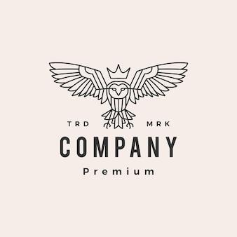 Modèle de logo vintage hibou roi monoline hipster