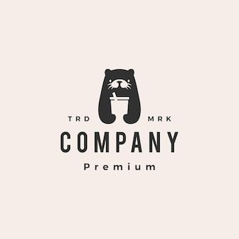 Modèle de logo vintage hipster boisson loutre